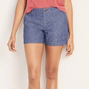 Old Navy Linen Blend Blue Chambray Shorts